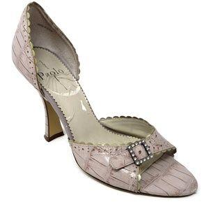 Paolo Pink Crocodile Heeled Sandals Rhinestone 8 M